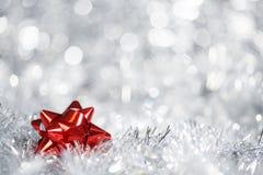 Fondo de plata de la Navidad Fotografía de archivo