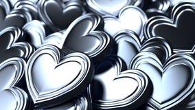 Fondo de plata de los corazones Imágenes de archivo libres de regalías
