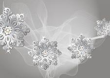 Fondo de plata del invierno con los copos de nieve Fotografía de archivo