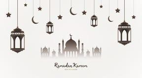 Fondo de Ramadan Kareem Silueta de la mezquita con las linternas, los crecientes y las estrellas de la ejecución Banquete musulm? stock de ilustración