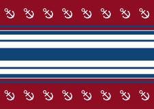 Fondo de rayas rojas, blancas y azules con un ancla stock de ilustración