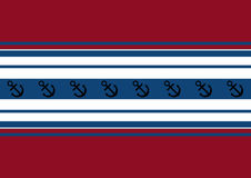 Fondo de rayas rojas, blancas y azules con un ancla ilustración del vector