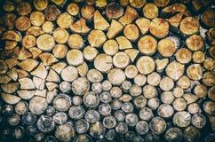 Fondo de registros de madera, filtro análogo Foto de archivo libre de regalías