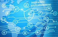 Fondo de regla de la notificación de la protección de datos general de DSGVO Imagen de archivo libre de regalías