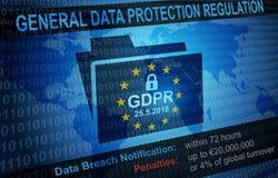 Fondo de regla de la notificación de la protección de datos general de GDPR Imágenes de archivo libres de regalías