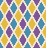 Fondo de repetición inconsútil de Mardi Gras con los diamantes verdes, amarillos y púrpuras Plantilla del cartel o del cartel del stock de ilustración