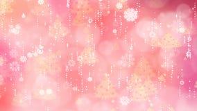 Fondo de Rose Snowflakes y del árbol de navidad almacen de video