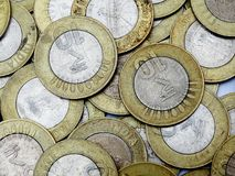 Fondo de 10 rupias de moneda del indio Foto de archivo