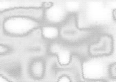 Fondo de semitono horizontal creativo con los puntos irregularmente distribuidos en colores blancos y negros Pendiente moderna de stock de ilustración