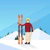 Fondo de Ski Winter Sport Snow Mountain del hombre Fotografía de archivo libre de regalías
