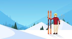 Fondo de Ski Winter Sport Snow Mountain del hombre Imagen de archivo libre de regalías