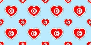Fondo de Túnez Modelo inconsútil de la bandera tunecina Stikers del vector Símbolos de los corazones del amor Buena opción para l Stock de ilustración