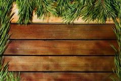 Fondo de tablones de madera y ramas del pino Fotos de archivo