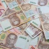 Fondo de Tailandia 1000 notas del baht Imágenes de archivo libres de regalías