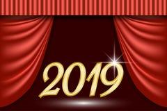 Fondo de teatro de la escena para la tarjeta de felicitación del Año Nuevo 2019 Foto de archivo libre de regalías
