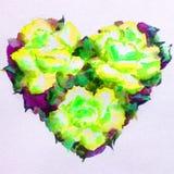 Fondo de textura colorido brillante abstracto de la acuarela hecho a mano Corazones rojos Modelo floral Flores de las rosas en el ilustración del vector