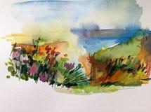 Fondo de textura colorido brillante abstracto de la acuarela hecho a mano Pintura del cielo y de nubes Paisaje Costa de mar ilustración del vector
