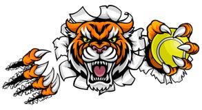 Fondo de Tiger Holding Tennis Ball Breaking ilustración del vector