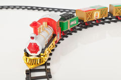 Fondo de Toy Train Isolated Over White de la Navidad Imagen de archivo libre de regalías