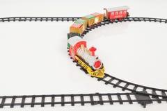 Fondo de Toy Train Isolated Over White de la Navidad Imágenes de archivo libres de regalías