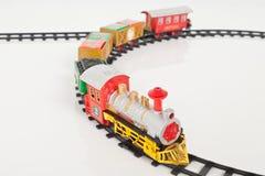 Fondo de Toy Train Isolated Over White de la Navidad Fotos de archivo libres de regalías