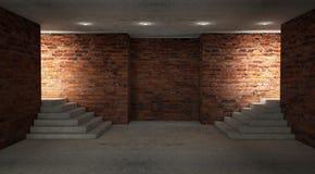 Fondo de un pasillo negro vacío con la luz de neón Fondo abstracto con las líneas y el resplandor foto de archivo libre de regalías