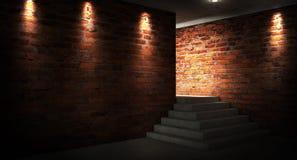 Fondo de un pasillo negro vacío con la luz de neón Fondo abstracto con las líneas y el resplandor imágenes de archivo libres de regalías
