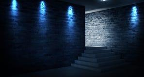 Fondo de un pasillo negro vacío con la luz de neón Fondo abstracto con las líneas y el resplandor foto de archivo