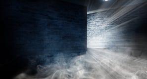 Fondo de un pasillo negro vacío con la luz de neón Fondo abstracto con las líneas y el resplandor fotografía de archivo libre de regalías