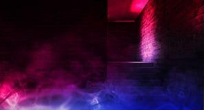 Fondo de un pasillo negro vacío con la luz de neón Fondo abstracto con las líneas y el resplandor imagen de archivo