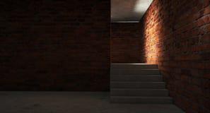 Fondo de un pasillo negro vacío con la luz de neón Fondo abstracto con las líneas y el resplandor fotografía de archivo