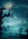 Fondo de Víspera de Todos los Santos - cementerio fantasmagórico Imágenes de archivo libres de regalías