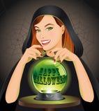 Fondo de Víspera de Todos los Santos con la bruja Fotografía de archivo