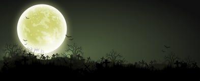 Fondo de Víspera de Todos los Santos con la luna stock de ilustración