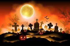 Fondo de Víspera de Todos los Santos con la luna Illustra realista arriba detallado stock de ilustración