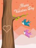 Fondo de Valentine Day con los pájaros del amor del vuelo Fotografía de archivo libre de regalías