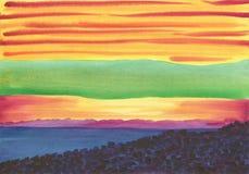 Fondo de Watwrcolor Puesta del sol brumosa, de niebla sobre el mar fotos de archivo libres de regalías
