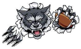 Fondo de Wolf American Football Mascot Breaking Fotografía de archivo libre de regalías