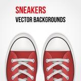 Fondo de zapatillas de deporte rojas simples realista Foto de archivo libre de regalías