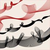 Fondo decorativo con i riccioli rossi e neri illustrazione vettoriale
