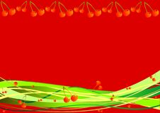 Fondo decorativo con las bayas y las rayas Imagen de archivo