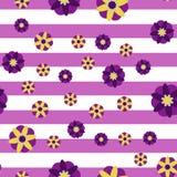 Fondo decorativo de la raya de las flores Fotografía de archivo