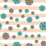 Fondo decorativo de la raya de las flores Imágenes de archivo libres de regalías