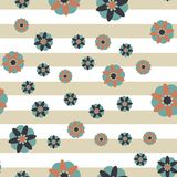 Fondo decorativo de la raya de las flores Imagenes de archivo