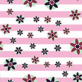 Fondo decorativo de la raya de las flores Fotografía de archivo libre de regalías