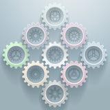 Fondo decorativo de nueve engranajes ilustración del vector