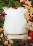 Fondo decorativo del marco de la Navidad foto de archivo