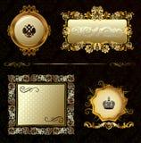 Fondo decorativo del marco del oro de la vendimia del encanto Foto de archivo libre de regalías