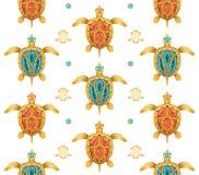 Fondo decorativo delle tartarughe dorate illustrazione di stock