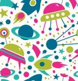 Fondo decorativo dello spazio del modello cosmico senza cuciture di contrasto con i razzi, astronavi, comete Immagine Stock